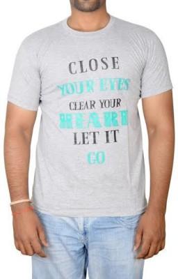 Revinfashions Printed Men's Round Neck Grey T-Shirt