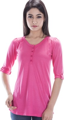 Peppermint Blues Solid Women,s Round Neck Pink T-Shirt