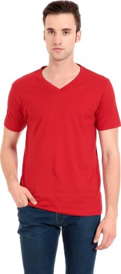 Zeug Solid Men's V-neck Red T-Shirt