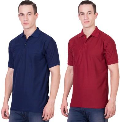 Randier Solid Men's Polo Neck Dark Blue, Maroon T-Shirt