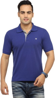 Byrock Solid Men's Polo Neck Dark Blue T-Shirt