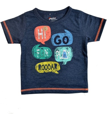 PEPITO Printed Baby Boy,s, Baby Girl's Round Neck Blue T-Shirt