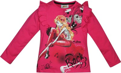 Winx Club Printed Girl's Round Neck Pink T-Shirt