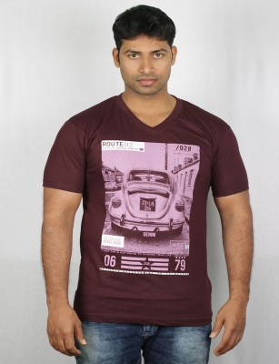 Mr Sha Printed Men's Round Neck Purple T-Shirt