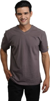 CAT Solid Men's Round Neck Brown T-Shirt