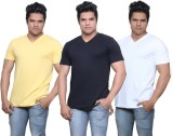 IndiWeaves Solid Men's V-neck Yellow, Bl...