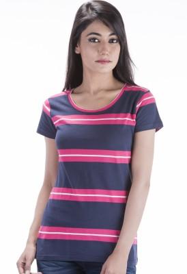 Peppermint Blues Striped Women,s Round Neck Dark Blue T-Shirt