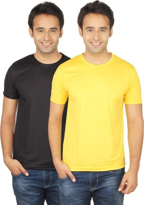 Quetzal Solid Men's Round Neck Yellow, Black T-Shirt
