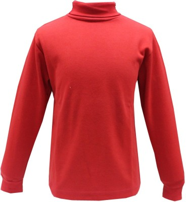 Romano Solid Girl's Turtle Neck Red T-Shirt