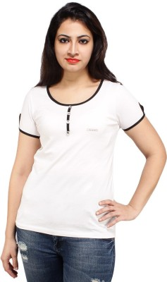 Styles Clothing Solid Women's Scoop Neck White T-Shirt