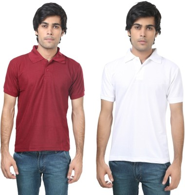 Stylish Trotters Solid Men's Polo Maroon, White T-Shirt