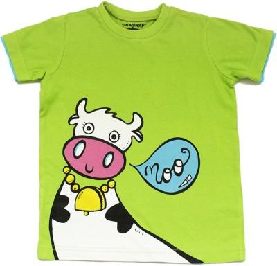 Alicia Souza Animal Print Boy's Round Neck Reversible Green T-Shirt