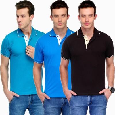 Scott International Solid Men's Polo Blue, Light Blue, Brown T-Shirt