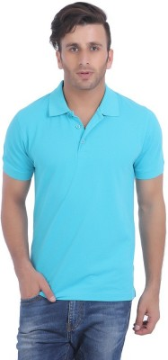 Rockhard Solid Men's Polo Neck Light Blue T-Shirt