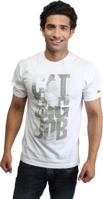 CAT Solid Men's Round Neck White T-Shirt
