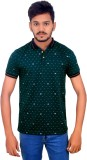 BOMBAY BLUES Printed Men's Polo Neck Gre...