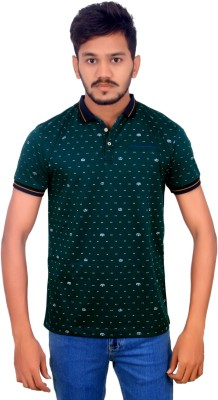 BOMBAY BLUES Printed Men's Polo Neck Green T-Shirt