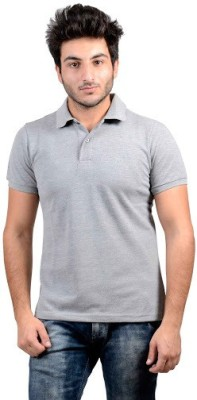 DS WORLD Solid Men's Polo Neck Grey T-Shirt