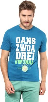FUNK Printed Men's Round Neck Blue T-Shirt