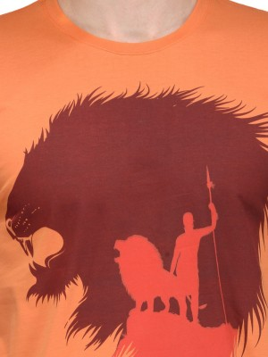 Slingshot Printed Men's Round Neck Orange T-Shirt
