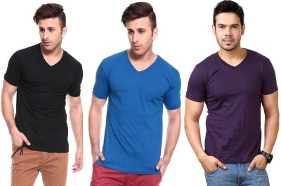 Lowcha Solid Men's V-neck Black, Blue, Purple T-Shirt