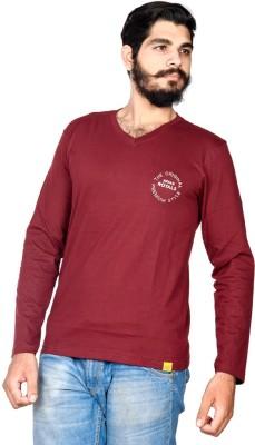 Indian Royal Solid, Embroidered Men's V-neck Maroon T-Shirt