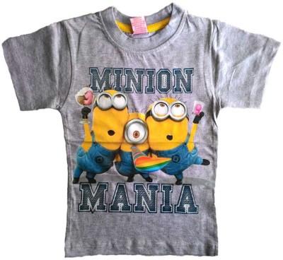Cool Club Printed Boy's Round Neck Grey T-Shirt
