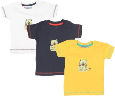 Day 2 Day Printed Round Neck White, Blue, Yellow T-shirt