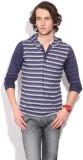 Killer Striped Men's Hooded Blue T-Shirt