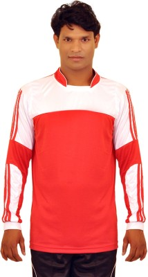 Dyed Colors Striped Men's Mandarin Collar Red, White T-Shirt