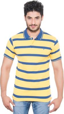 Fabilano Striped Men's Polo Neck Yellow, Blue T-Shirt