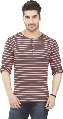 Nick & Jess Striped Men's Henley Grey T-Shirt