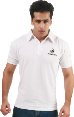 Fizzaro Solid Men's Polo Neck White T-Shirt