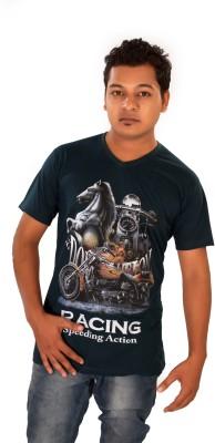 Maggivox Printed Men's V-neck Blue T-Shirt