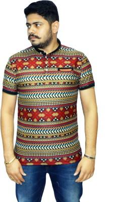 Navratna Nxt Printed Men,s Mandarin Collar Red T-Shirt