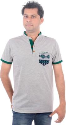 All Ruggby Printed Men's Mandarin Collar Grey T-Shirt