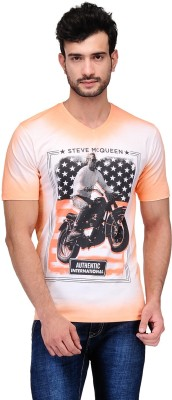 Ausy Printed Men's V-neck Orange T-Shirt