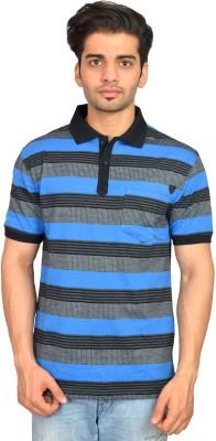 Urban Trail Striped Men's Polo Neck Black T-Shirt