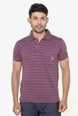 Gleneagles Striped Men's Polo Neck Purple T-Shirt
