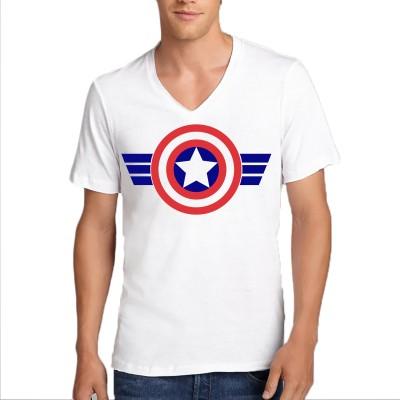 FRENEMY Self Design Men's V-neck Reversible White T-Shirt