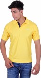 EX10 Solid Men's Polo Neck Gold T-Shirt