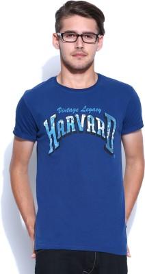 Harvard Printed Men's Round Neck Blue T-Shirt