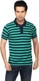 Got It Striped Men's Polo Neck Green, Bl...
