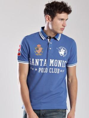 Santa Monica Printed Men's Polo Neck T-Shirt