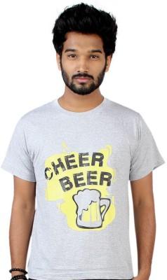 Allthingscustomized Printed Men's Round Neck Grey T-Shirt