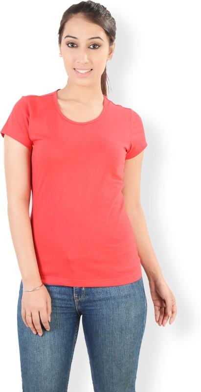 Neevov Solid Women's Round Neck Pink T-Shirt