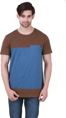 Cherymoya Self Design Men's Round Neck Brown T-Shirt