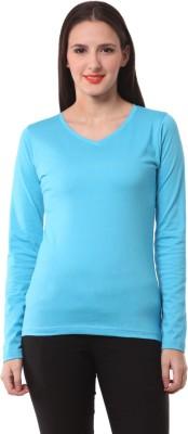 Fashionexpo Solid Women's V-neck Light Blue T-Shirt