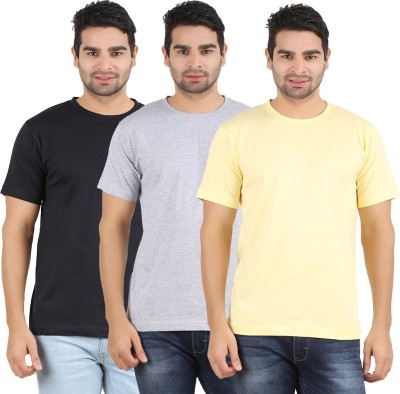 Heartin Beat Solid Men's Round Neck Yellow, Grey, Black T-Shirt