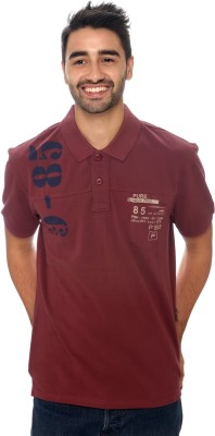 Be Pure Printed Men's Polo Neck Maroon T-Shirt